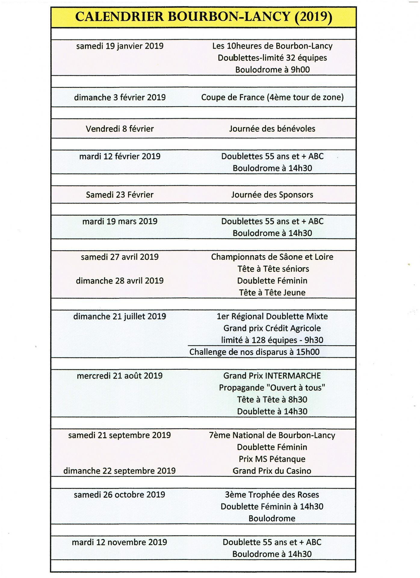 Calendrier Championnat De France Petanque 2019.Calendrier 2019 Bourbon Lancy