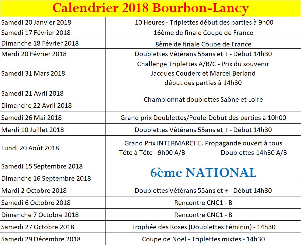 Calendrier 2018 bourbon lancy