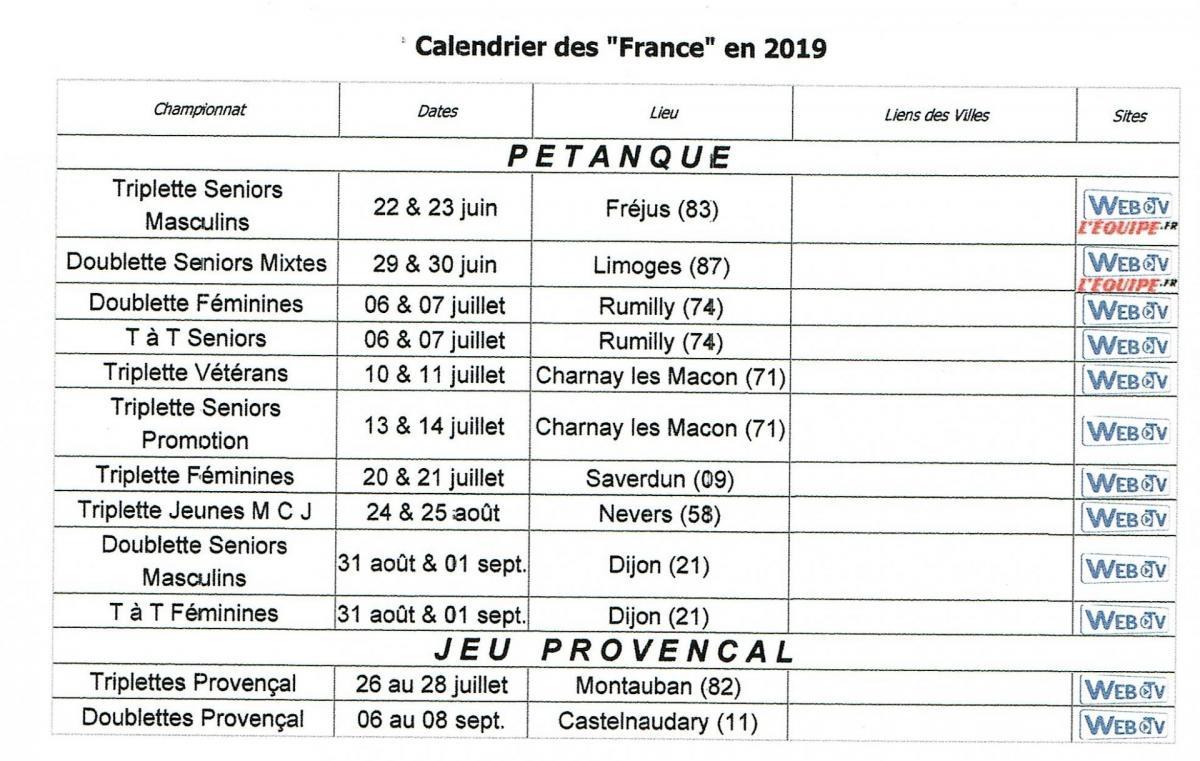 Calendrier chpt de france 2019
