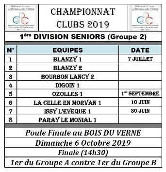Seniors 1ere division 2019